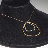 "Qevon 21"" Gold/Silver Circle Necklace"